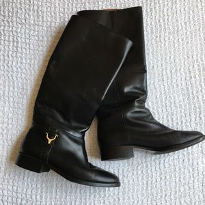 Etienne Aigner Derby Black Leather Riding Boots